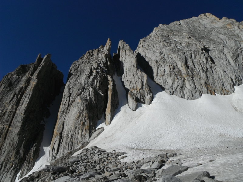 July 5 2012. Low snow year.  Icy-hard neve in all 3 couloirs.