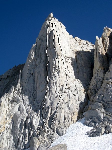 Rock Climbing Photo: Photo Overlay of Merriam by Peter Croft. Shows bot...