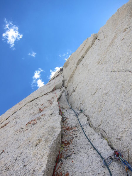 Rock Climbing Photo: Casey leads the amazing 4th pitch of Croft-Rands L...
