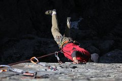 Rock Climbing Photo: Swinging out from under the roof of The Fools Prog...