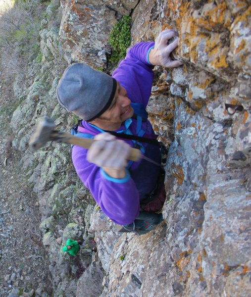 Wacking away on the first ascent