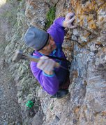 Rock Climbing Photo: Wacking away on the first ascent