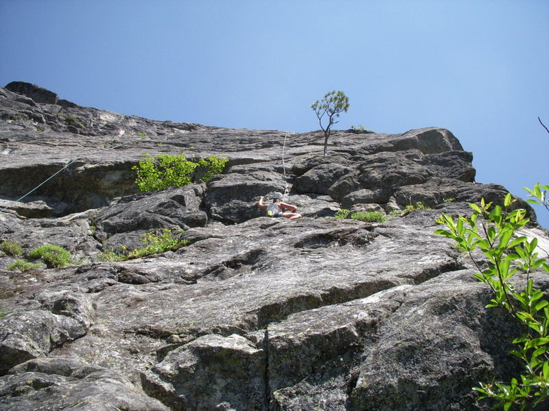 Rock Climbing Photo: Looking up at the first pitch