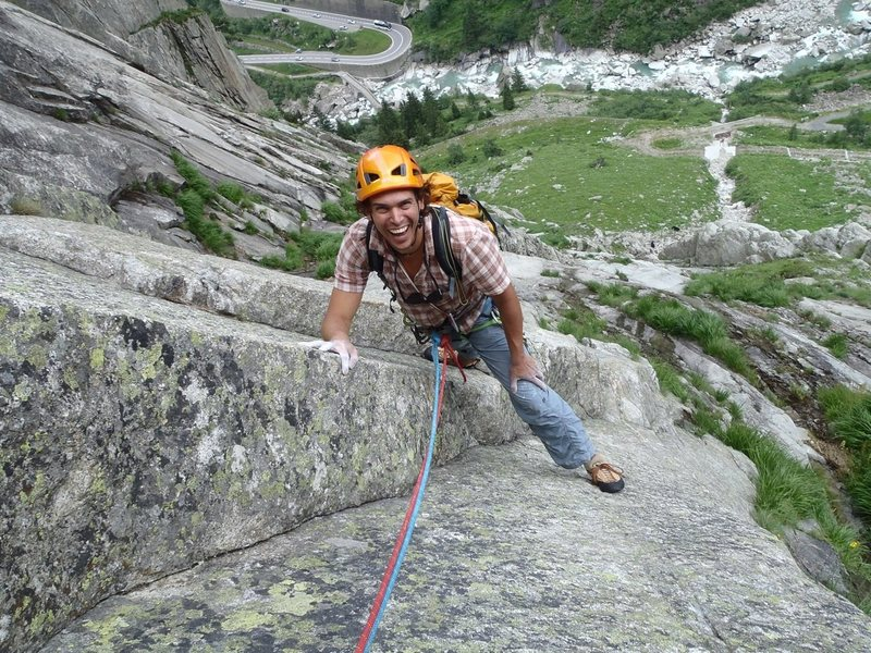 Rock Climbing Photo: Smiling in the face of the finishing 6b+ crux