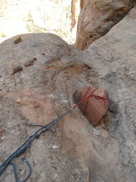 sketchy slung boulder at top