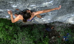 Rock Climbing Photo: Holly on the crux of Gray Matter
