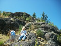 Rock Climbing Photo: My kids Playing around on top of Big Rock.