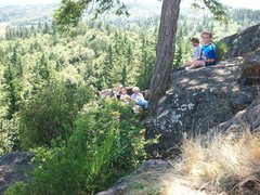 Rock Climbing Photo: My kids relaxing. Just over the rock behind them a...