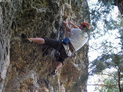 Rock Climbing Photo: Thomas Holmes surmounting the roof.