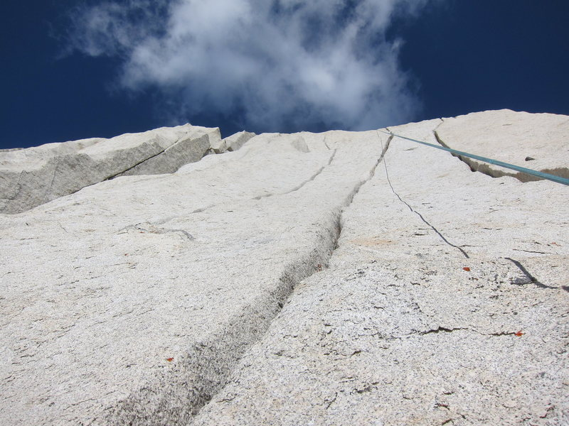 Looking up at the upper half of the triple cracks
