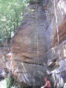 Rock Climbing Photo: Black Buttress zig zags from crimp to crimp across...