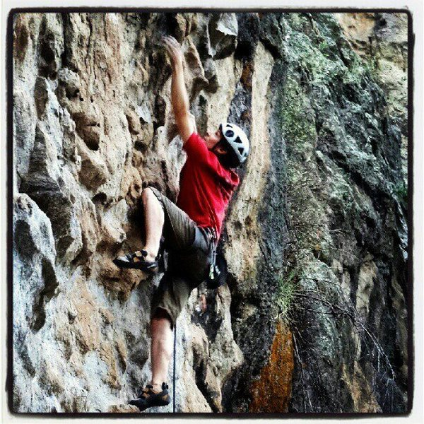 Rock Climbing Photo: Hagen sending the route for the first time, in the...