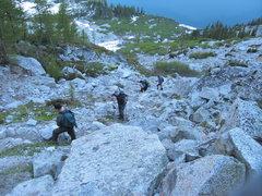 Rock Climbing Photo: The motley crew making the long slog up Aasgard pa...