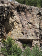 Rock Climbing Photo: Looking up from the road at Satori.