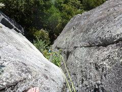 Rock Climbing Photo: Sayonara from the belay ledge at the top of P1