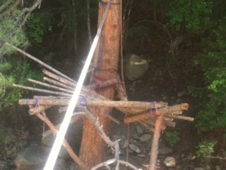 Rock Climbing Photo: Broken tyrolean tree stand, 7/12/12.