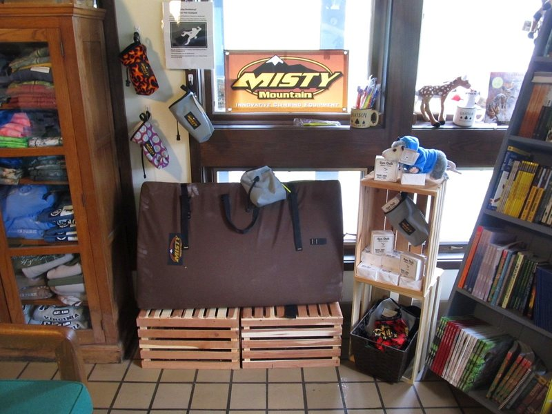 -Misty Mountain Highlander rental pad. Rental chalkbag & GHSP Brush available as a combo with the pad.<br> <br> -Assorted chalkbags, chalk blocks, and custom GHSP Bouldering toothbrushes available for sale.<br> <br> -All in the park office.