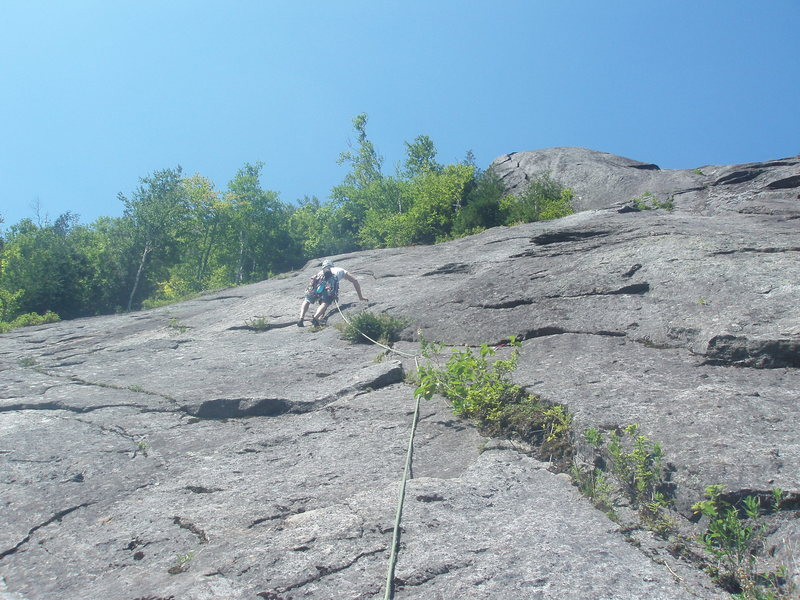 Our second pitch of simul-climbing on Empress