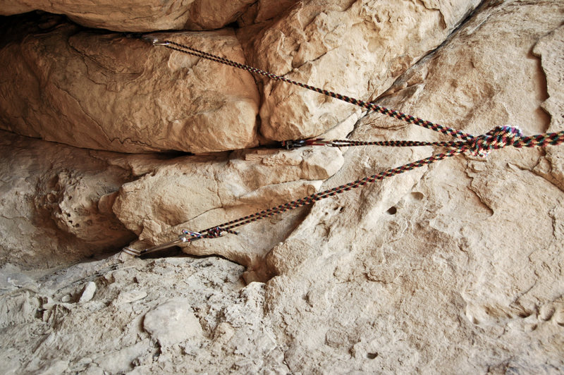 Rock Climbing Photo: Cave belay station anchor. Pretty sweet.