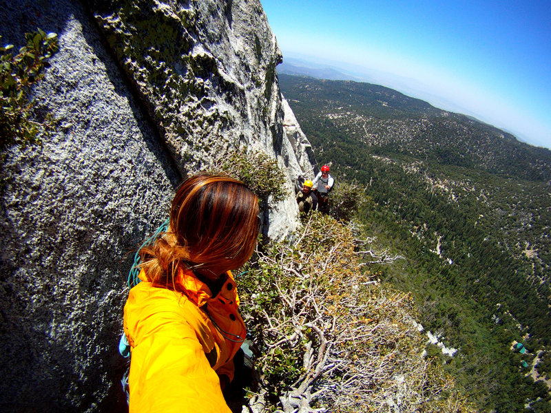 Rock Climbing Photo: At the 3rd pitch traverse to the vertical crack. A...