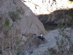 Rock Climbing Photo: Ben on the upper part of p3. Once above the roof (...
