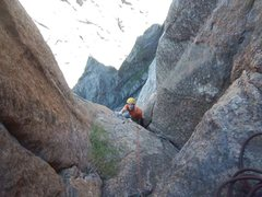 Rock Climbing Photo: Matt topping out the p4. Not quite sure while I'm ...