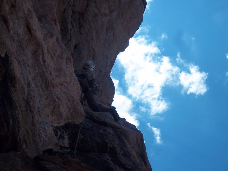 Ben crusing the short crux of p6. The unmentioned bolt is right at Ben's waist. You will be happy it is there.