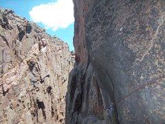 Rock Climbing Photo: Exciting p5 traverse.