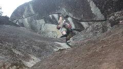 Rock Climbing Photo: Jon starting the crux moves