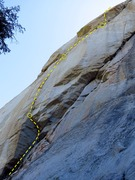 Rock Climbing Photo: Wailing Wall. The route begins at the shaded roof ...