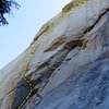 Wailing Wall. The route begins at the shaded roof in the bottom left of the photo and trends to the right, pulling the roof crack in the upper right of the photo.  Topo overlay shows the first three pitches as we climbed the route.  <br> <br> Photo: Corey Gargano