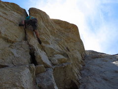 Rock Climbing Photo: Getting into the P4 roof. 7/2012.   Photo: Christi...