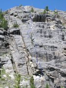Rock Climbing Photo: Alberta Falls Wall. Zoom in for route location.