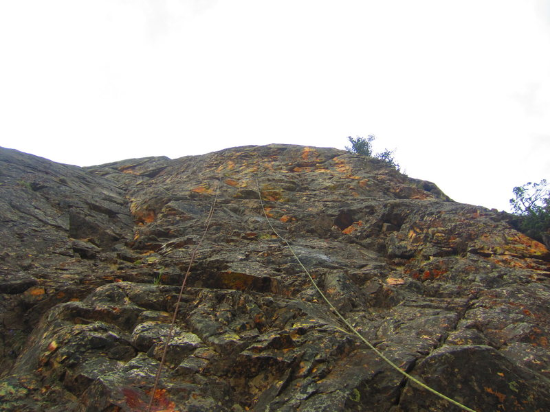 Rock Climbing Photo: The line goes over the bulge, under the rope on th...