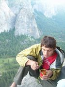 Rock Climbing Photo: Eating chili on El Cap Towers, 2008