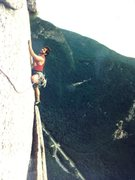 Rock Climbing Photo: Tom on Moby Grape, Cannon Mountain, NH