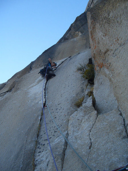 Rock Climbing Photo: On the final pitch of the Nose, 2010.