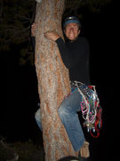 Rock Climbing Photo: Dave on the topout tree of the Nose, 2010 (he's pr...