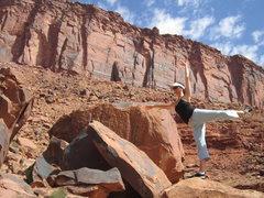 """Rock Climbing Photo: My pregnant """"bun head""""."""