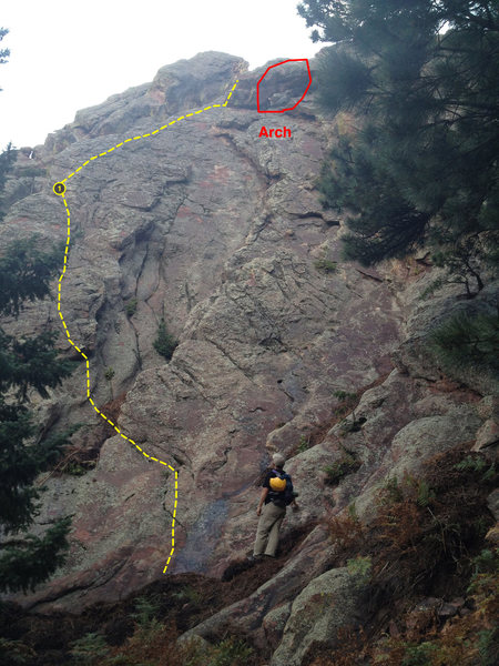 Start of route.  This shows what we did with a 30M rope.  That belay is 100 feet, a 60M would get you to a large ledge up twice as high.  You can see a little wet spot by Ken, this was right after a downpour.  Does this look 4th class to you?