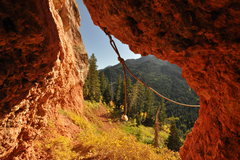 Rock Climbing Photo: A view from an alcove at the Red Wonder Wall