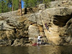 Rock Climbing Photo: Andrew Ryder wasting no time on Human Wasteland V6...