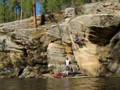 Rock Climbing Photo: Andrew R. half way into the crux headwall of Human...
