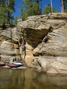 Rock Climbing Photo: Andrew R. trys to find his magic beans on the dyno...