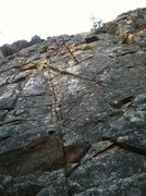 Rock Climbing Photo: Looking up from the start of SARS and Stripes Fore...
