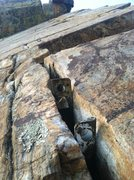 Rock Climbing Photo: The old anchors at the top. Always equalize with s...