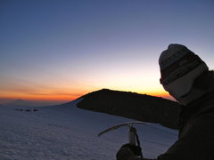 Rock Climbing Photo: Sunrise on Mt. Adams from the base of Mt. Hood's S...