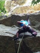 Rock Climbing Photo: Chris leading Wegetables...under the roof. B*d*ss!