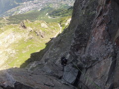 Rock Climbing Photo: Climbing Pitch 3 on Voie Frison-Roche