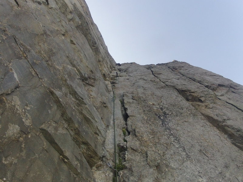 The last pitch of the route Voie Frison-Roche